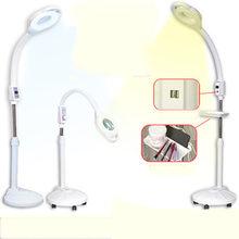 MERHOLE 110V / 220V 10X szkło powiększające lustro 120 lampa LED podłogowa Salon kosmetyczny paznokci tatuaż lampa podłogowa