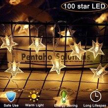 10M 100LED Star String Lights EU/US Plug Christmas Tree Fairy Garlands Curtain light Outdoor for Xmas Party New Year's decor mymei xmas дерево 8 5m 220в 100led фея группа string колба легких рождество свадьбу ес plug фиолетовый
