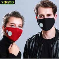 1Pcs Mode Unisex Baumwolle Atem Ventil PM2.5 Mund Maske Anti-Staub Anti Verschmutzung Maske Tuch aktivkohle filter atemschutz