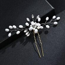 Wedding Bridal Pearl Flower Crystal Rhinestones U Hairpins Clips Bridesmaid Hair Wear Jewelry Hair Accessories