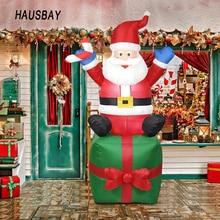 цена на 1.8M Cute Inflatable Santa Claus Christmas Outdoors Ornaments Xmas New Year Party Home Garden Yard Xmas Decoration EU Plug US Plug X010