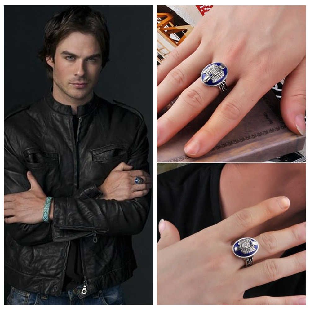 925 Sterling Silver The Vampire Diaries Damon Salvatore Lapis Lazuil Mens Ring Jewelry US Size 8 12#