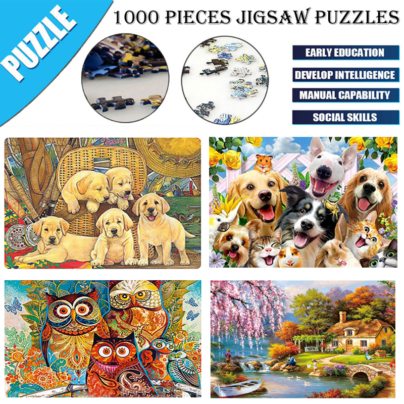 1000 Pieces Adult Diy Animal Pet Dog Landscape Pattern Picture Jigsaws Puzzle Home Decor Painting Calligraphy Aliexpress