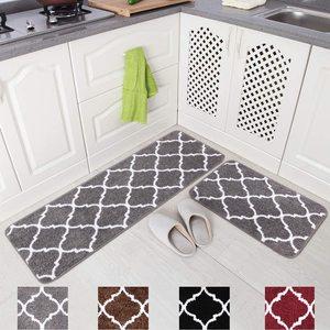 Long Kitchen Mat Set Microfiber Moroccan Trellis Non-Slip Floor Mat Carpet Bathroom Absorbent Door Mat Home Entrance Doormat