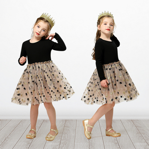 3 4 5 6 7 8 Year Girls Dress Autumn Lace Sling Casual Dresses for Baby Girl Pentagram Pattern Clothes Birthday Party Dress(China)