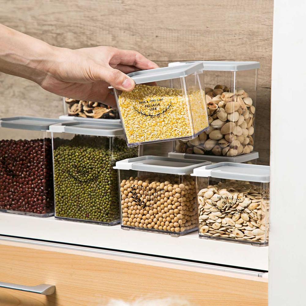 800 ml 플라스틱 봉인 된 식품 저장 캔 주방 보관 상자 투명 식품 용기 신선한 항아리 유지 유용한 식품 용기