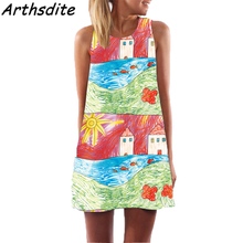 Arthsdite 2018 Fashion Summer Dress Floral Print Beach Boho Sleeveless O-Neck Mini Party Plus Size Women Clothing
