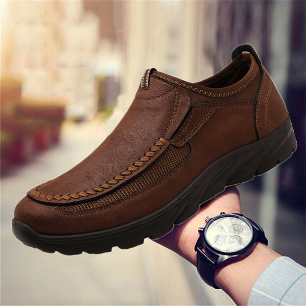 Damyuan Men's Casual Shoes Leather Casual Shoes Men's Shoes Warm Winter Comfortable Footwear Outdoor Shoes Plug Size 48