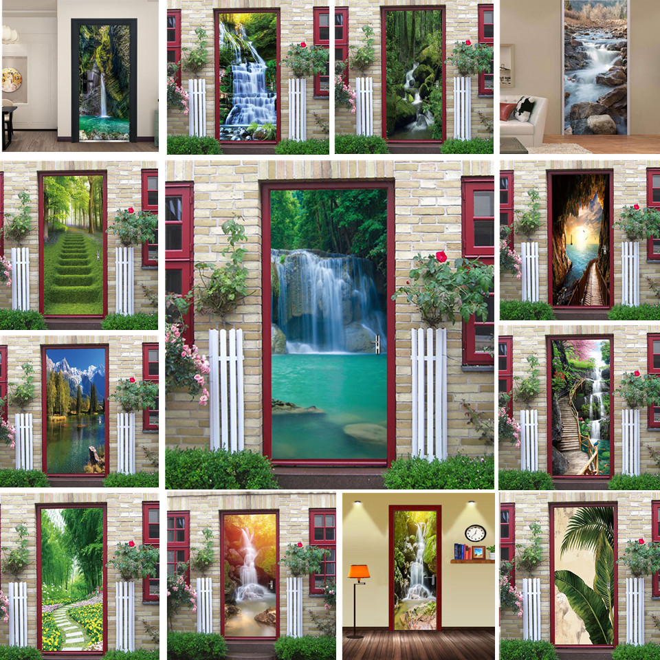 Natural Scenery Door Wallpaper Home Decor Self-adhesive Waterproof Removable Poster Stickers On The Doors Wall Decal Deursticker