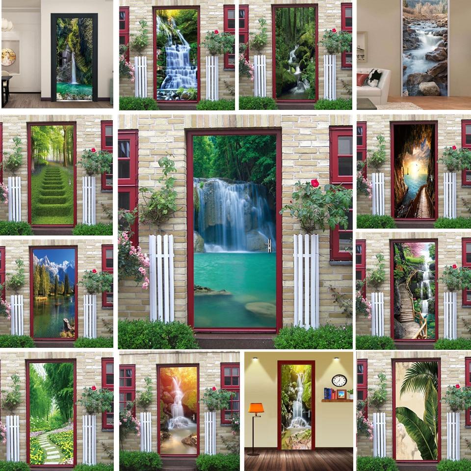 Natural Scenery Door Wallpaper Home Decor Self-adhesive Waterproof Removable Poster Stickers On The Doors Wall Decal Deursticker
