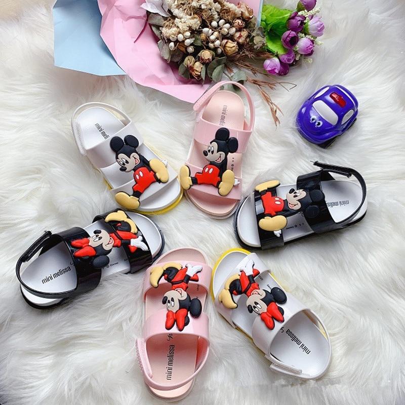 New Fashion Girl's Suumer Sandal Kids Baby  Minckey Minne Jelly Sandal Princess Anti-slip Soft Candy Shoes HMI010
