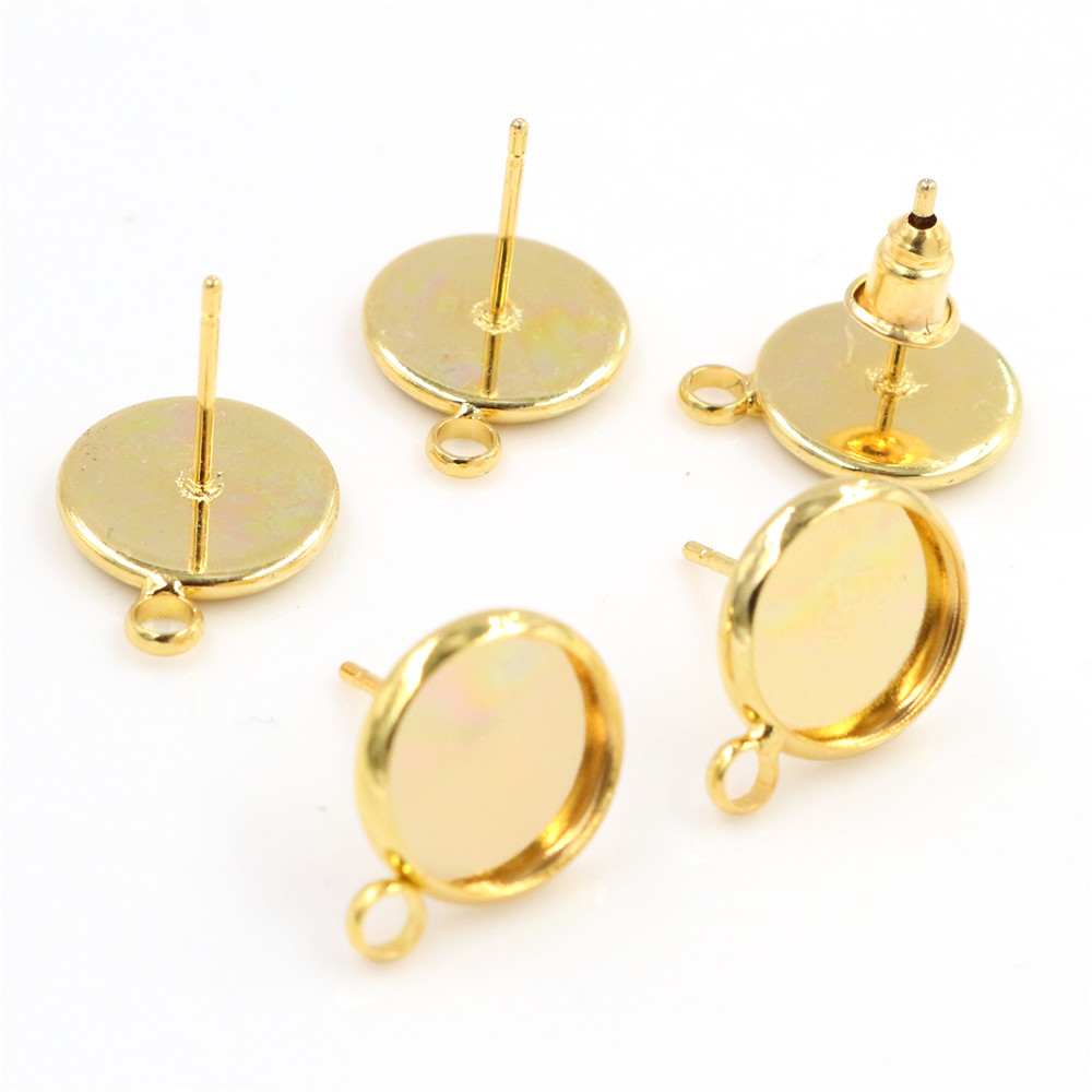10mm 10pcs/Lot Gold Colors Plated Earring Studs,Earrings Blank/Base,Fit 10mm Glass Cabochons,Buttons;Earring Bezels (T1-15)