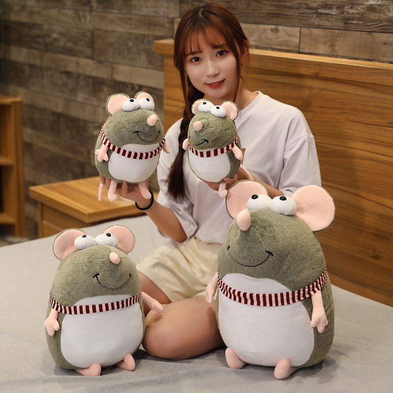 1pc 20-45cm Lovely Fat Grey Rat Pillow Stuffed Animal Plush Toys For Girls Children Boys Toys Cute Mouse Doll Birthday Gift