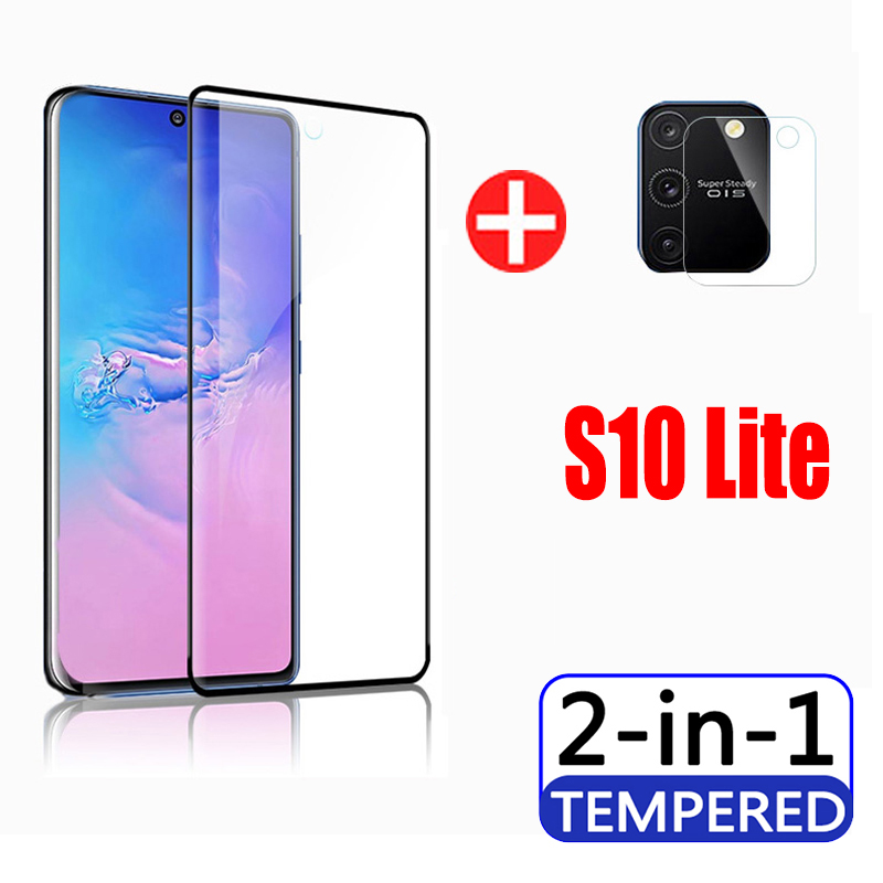 2in1 camera lens protective film on for samsung s10 lite glass galaxy s10lite lit light samsang sam galax screen protector 6.7