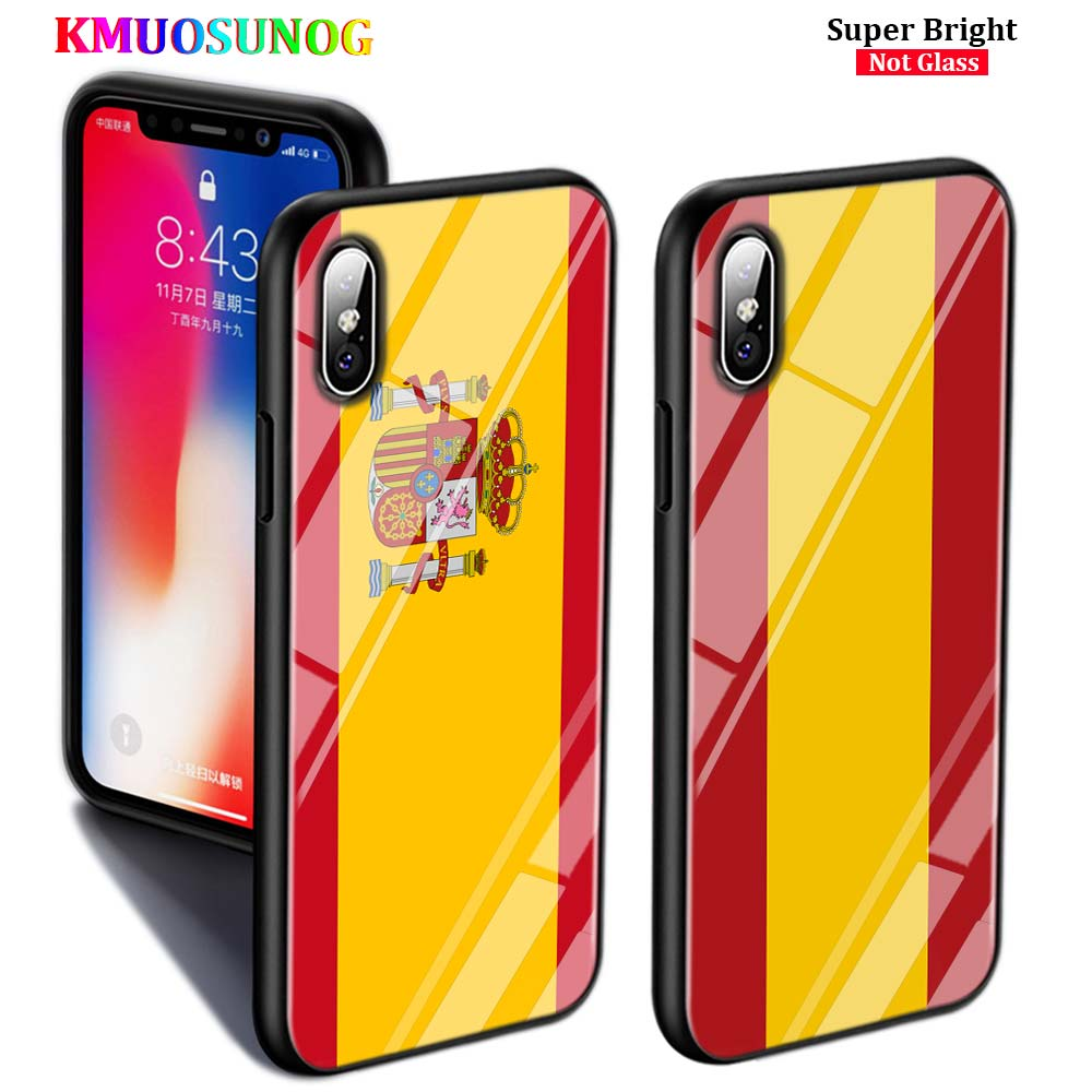 Black Cover for iPhone 11 11Pro Max Spain national flags for iPhone X XR XS Max 8 7 6 6S Plus 5S Glossy Phone Case(China)