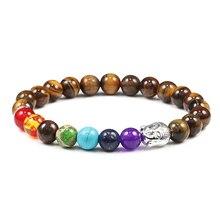 Healing 7 bransoletka Chakra mężczyźni Alloy budda tygrysie oczy z kamienia naturalnego lawa bransoletka z koralików bransoletki kobiety biżuteria modlitewna Homme prezenty