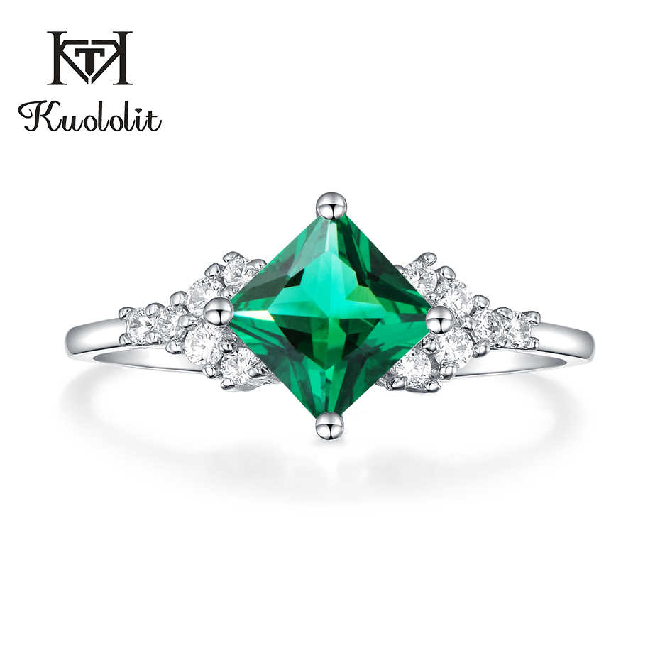 Kuololit Emerald Gemstone Rings for Women 925 Sterling Silver Square Cut Created Stone Wedding  Romantic Engagement Fine Jewelry