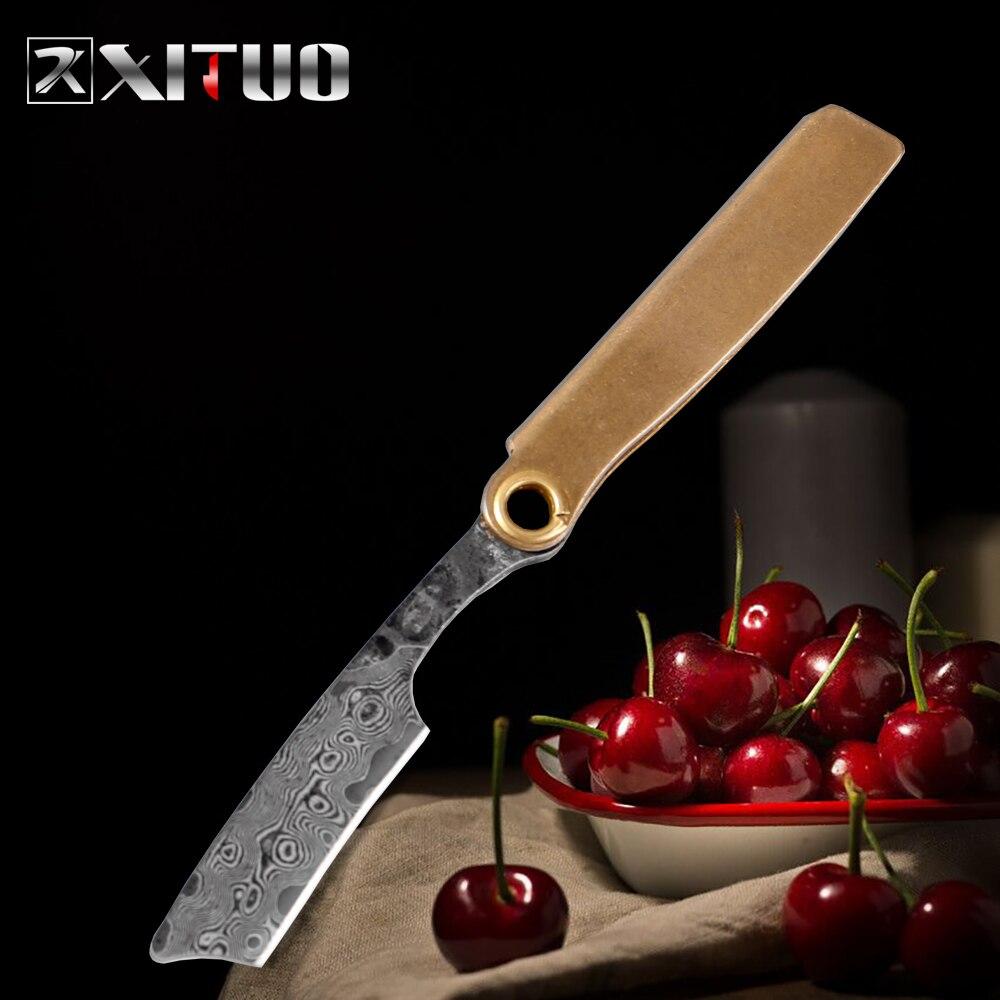 XITUO Damascus Steel Knife Small Razor Multi function Mini Paring Knife Pendant Sharp Portable Portable Key Ring Folding Knife|Kitchen Knives| - AliExpress