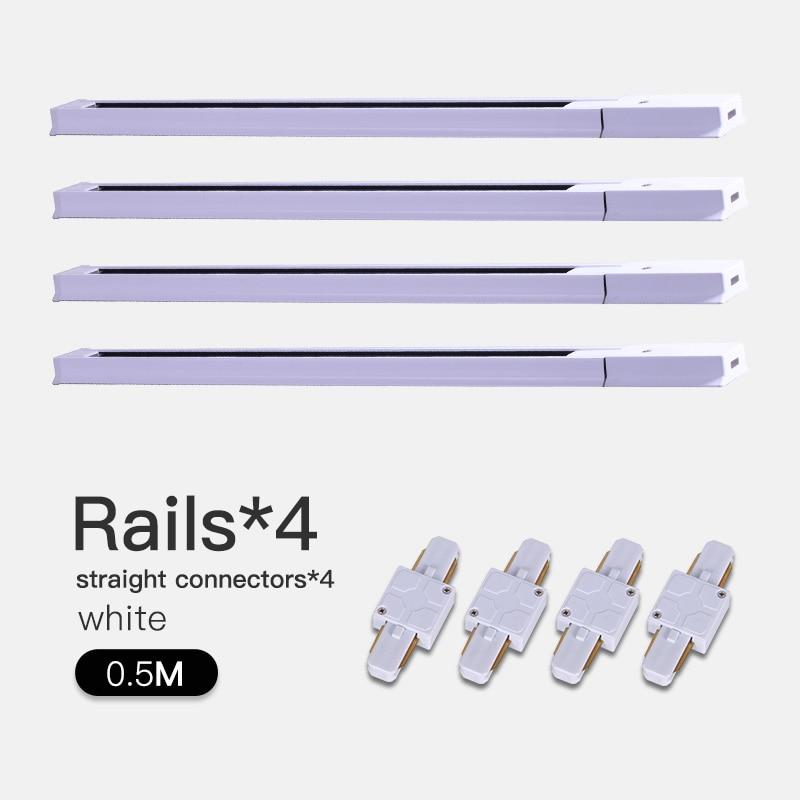 COB светодиодный Трековый светильник 220V 12/20 Вт, 30 Вт, 40 Вт регулируемый Точечный светильник Алюминий потолочный рельсы для Кухня магазин - Испускаемый цвет: White-0.5m Track-S