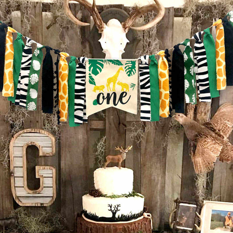 สัตว์ป่าชุด Highchair แบนเนอร์ตกแต่ง Crown อุปกรณ์สำหรับทารก 1st วันเกิด TP899