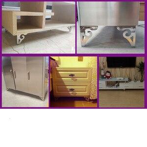 Image 2 - 4pcs חלול גילוף מתכת ריהוט רגליים עם גומי רגליים כרית ארון שולחן רגליים חומרת ספה ריהוט רגל רמה