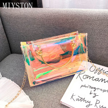 2019 New PVC Jelly Crossbody Bag Transparent Laser Women Handbag Hard Day Clutches Bags Female Shoulder sac Femme