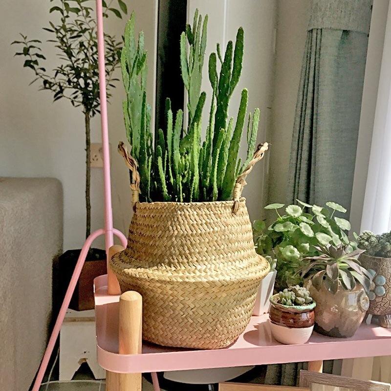Seagrass Wickerwork Basket Rattan Hanging Flower Pot Dirty Laundry Hamper Storage Basket Flower Storage Baskets Accessories