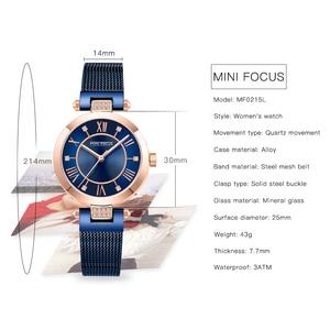 Image 2 - MINI FOCUS Casual Women Watches Rhinestone Design Top Luxury Brand Quartz Clock Simple Dress Ladies Watch Waterproof reloj mujer
