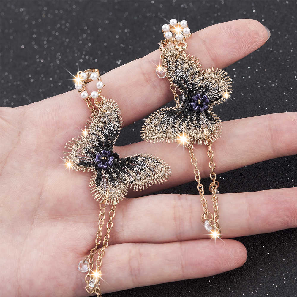 2019 New Fashion Women Pearl Earrings Embroidery Butterfly Crystal Long Tassel Drop Dangle Earrings Jewelry For Girls Gift