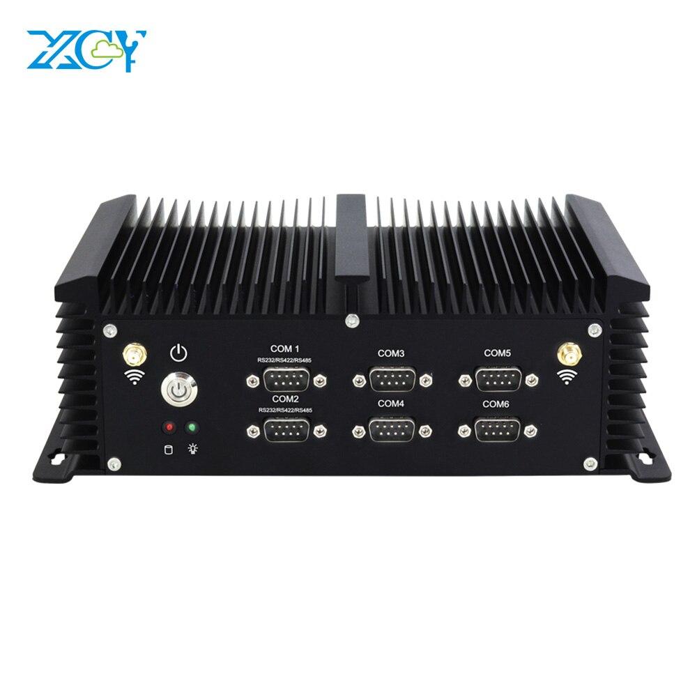 XCY Intel Core i5 4200U промышленный Мини ПК безвентиляторный 6 * RS232 RS422 RS485 8 * USB 2 * LAN HDMI VGA WiFi Windows Linux встроенный компьютер