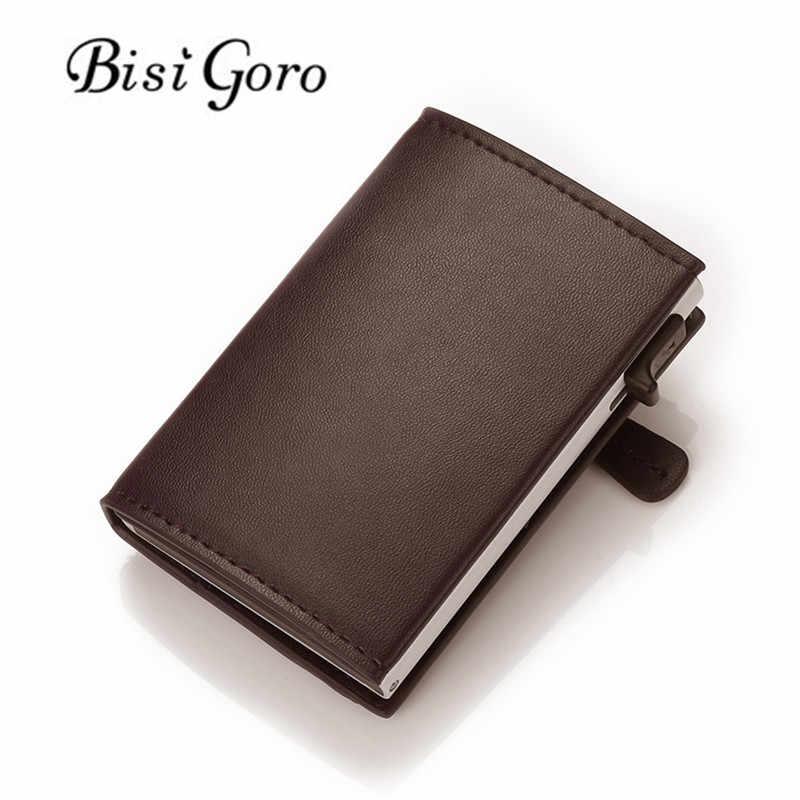 Bisi Goro Nieuwe Mannen Vrouwen Smart Wallet Fashion Pu Lederen Portemonnees Rfid Aluminium Doos Anti-Diefstal Kaarthouder slim Card Case