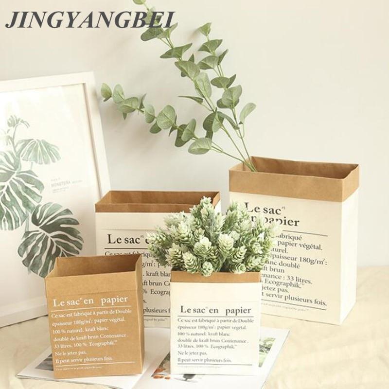 Vase à plantes en papier Kraft de Style européen | pot de fleurs de bureau, accessoires de rangement décoratifs de mariage pour la maison