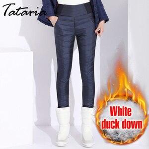 Image 2 - חורף ברווז למטה מכנסיים לנשים בתוספת גודל שחור גבוהה מותן סקיני Velevt חם מכנסיים נשים אלסטי מזדמנים עיפרון מכנסיים