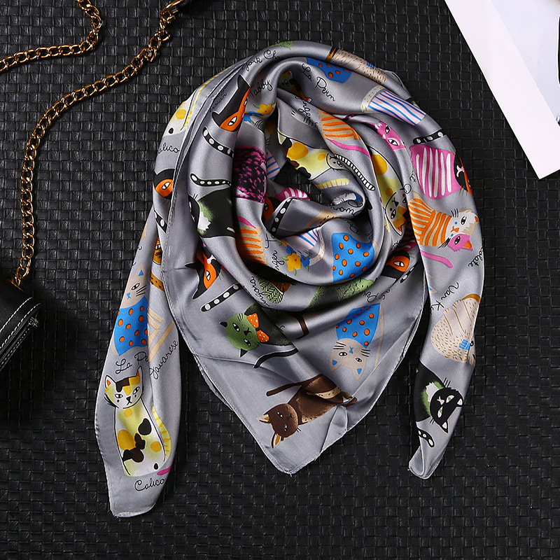 90*90cm Cute Cat Print Silk Scarf Fashion Female Bandana Girls Hair Bag Scarf Animal Pattern Shawls And Wraps Foulard Femme
