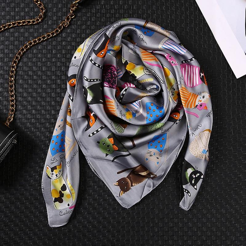 90*90cm Cute Cat Print Silk Scarf Fashion Female Bandana Girls Hair Bag Scarf Animal Pattern Shawls And Wraps Foulard Femme