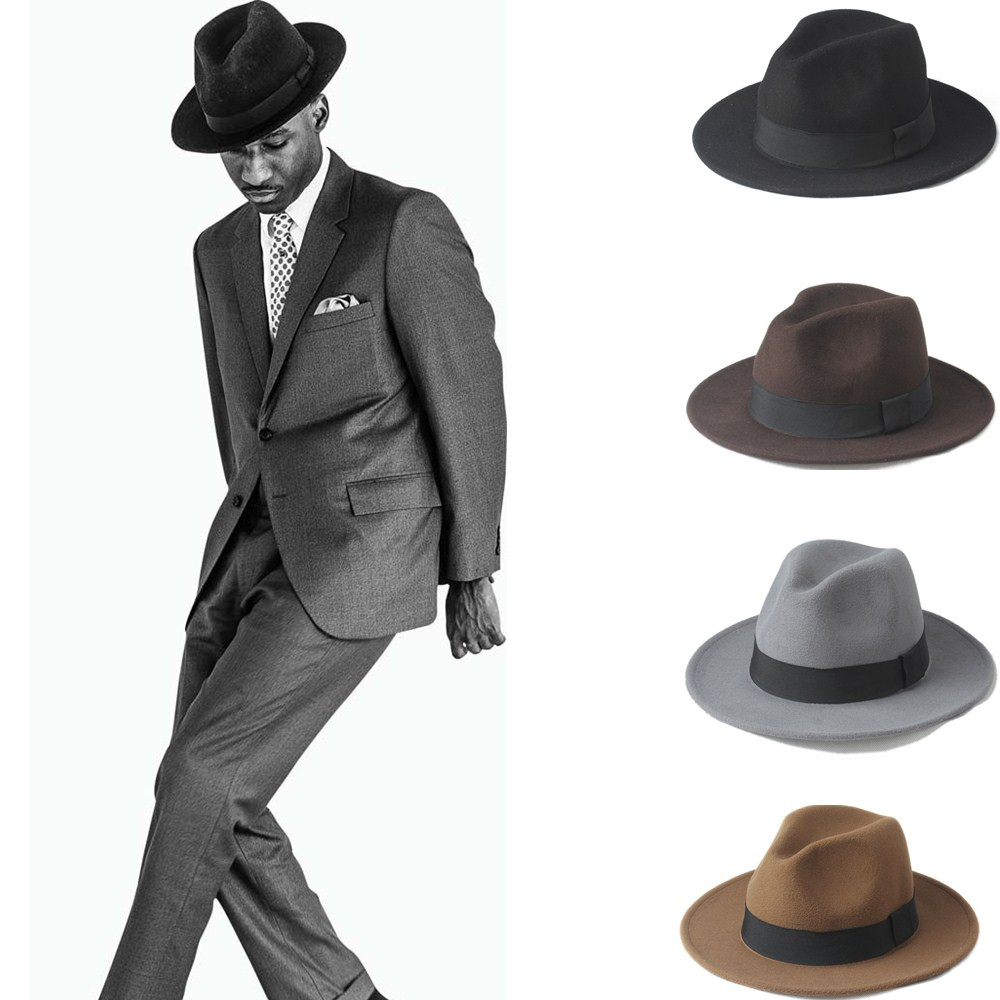 2Big Size 56-58,size 59-61CM 100% Wool Men Felt Trilby Fedora Hat For Gentleman Wide title=