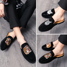 2020 Half Drag Shoes for Men Luxury Casual Slippers Breathable Summer Slip on Lazy Shoe Rhinestone Cow Leather Summer Loafers 2020 summer cool rhinestones slippers for male gold black loafers half slippers anti slip men casual shoes flats slippers wolf