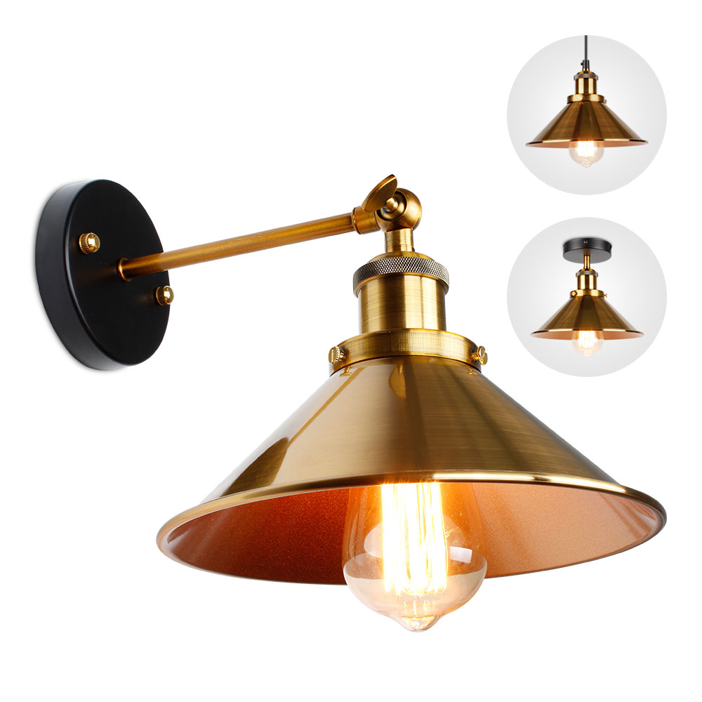 Wall Lamp Light Wall Sconc Industrial Retro Sconce Golden Lampshade Ceiling Lamp For Living Room Bedroom Aisle Lighting Fixtures