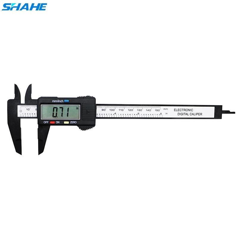 0-150mm plástico lcd digital eletrônico vernier pinça de fibra de carbono vernier caliper ferramentas de medição