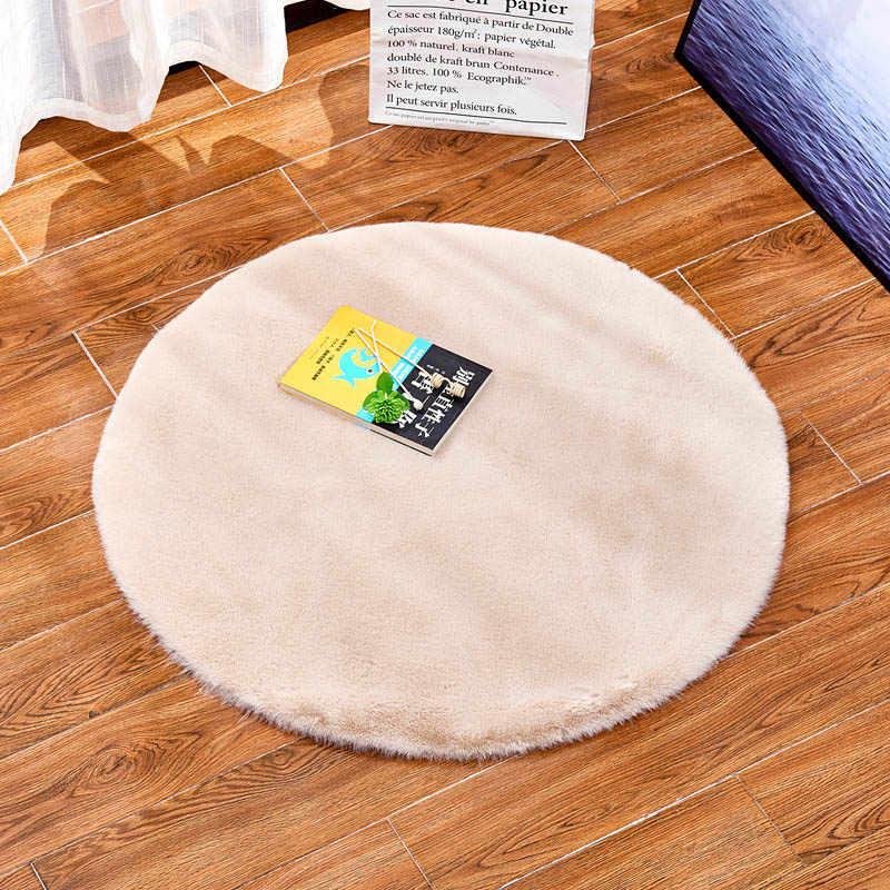 거실 팔러 푹신한 카펫 가짜 토끼 따뜻한 모피 깔개 어린이 방 얽히고 설킨 놀이 매트 라운드 의자 좌석 패드