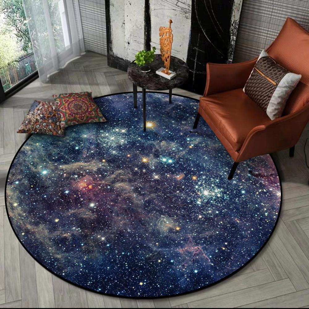 Image 2 - Gorgeous Starry Universe Series 3D carpet Living room bedroom non  slip circular floor mat plush round rug custom made door matMat   -
