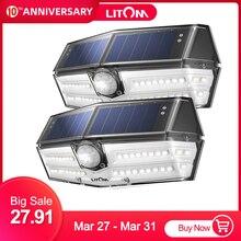2 pacote/lote litom 40 led luz solar ao ar livre sensor de movimento luzes 24.5% alta eficiente painel solar ip66 270 super grande angular lâmpada