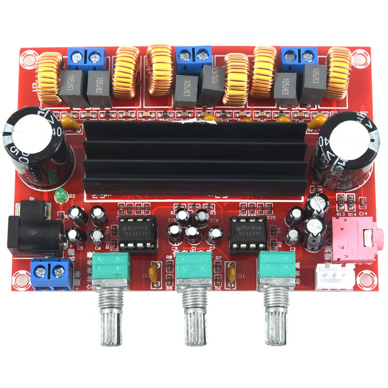 Retail DC12-24V <font><b>TPA3116D2</b></font> <font><b>2.1</b></font> Channel Digital <font><b>Subwoofer</b></font> Power Amplifier Board+case image