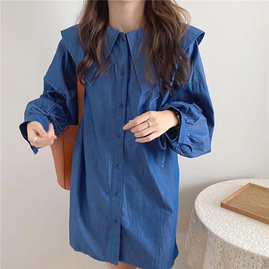 H4c09dd8c7eba49aa81af73ad794c6b3e8 - Autumn Korean Big Lapel Collar Long Sleeves Drawstrings Solid Mini Dress