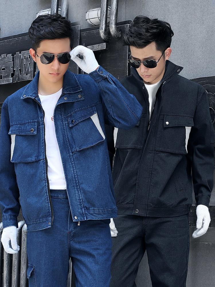 New Mens Stand Collar Denim Jacket Jeans Pants 2pcs Set Workwear Workshop Uniforms Electric Welding Thick Heat-proof B31