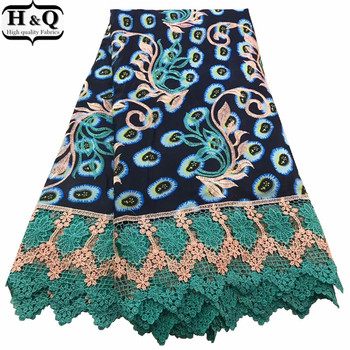 2020 Latest Embroidered Lace High Quality African Wax Lace Fabric Nigerian Guipure Lace Fabrics Print Wax With Lace For Dresses