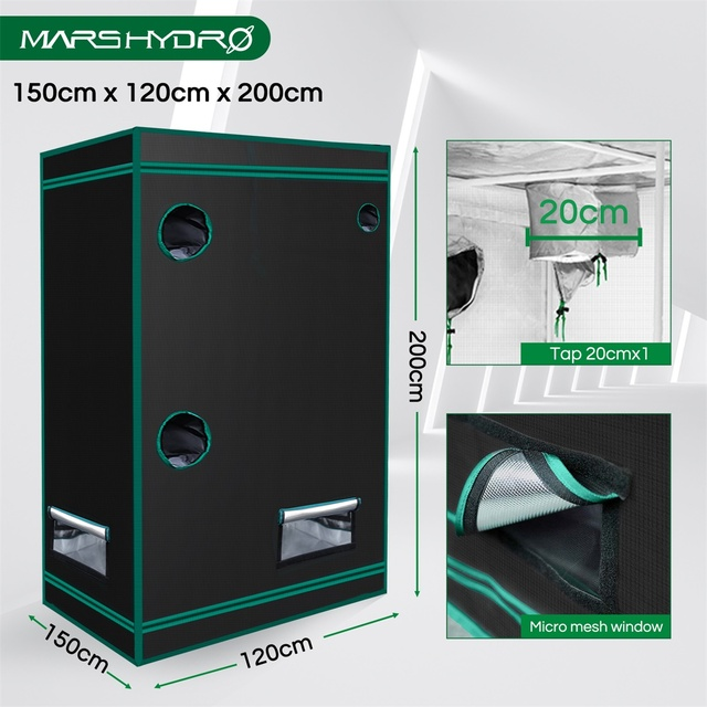 Mars Hydro 150X120X200cm 2-in-1 Grow Tent 1680D Water-Proof Non-Toxic Reflective Material for Indoor Growing System Plant Room 6