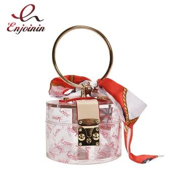 Transparent Plastic Gold Ring Handle Fashion Crossbody Bag for Women Handbag Shoulder Party Purse Clutch Evening