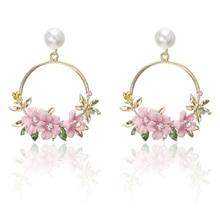 2020Trendy Cute Sweet Blossom Flower Big Circle Dangle Earrings Trim Pearl Geometric Round Hook Dangle Earrings for Women Girls fashion sweet shell round dangle earrings