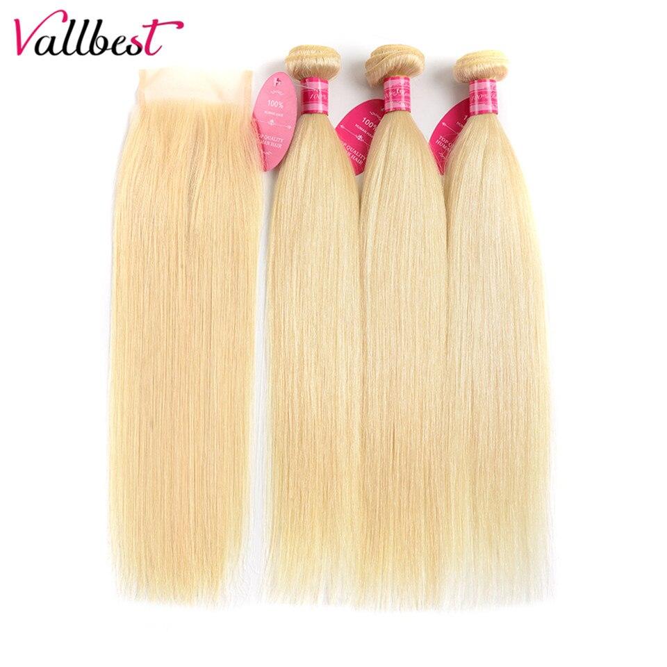 Vallbest бразильские прямые волосы ткать 613 блонд пряди с закрытием человеческие волосы 3 пряди с закрытием Remy волосы для наращивания